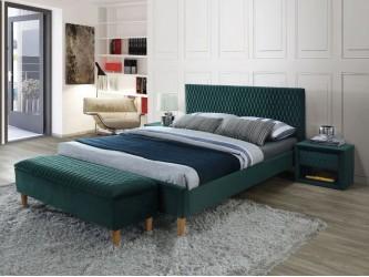 Azurro Velvet francia ágy 140x200 tölgy/ zöld bársony (Bluvel 78)