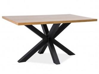 Cross asztalka tölgy tömörfa/fekete fém láb 150x90