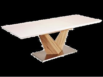 Alaras bővithető asztal sonoma/asztallap lakk.fehér, 160-220x75x90
