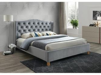 Aspen Velvet 140x200 francia ágy szürke bársony (Bluvel 14) (matrac nélkül)