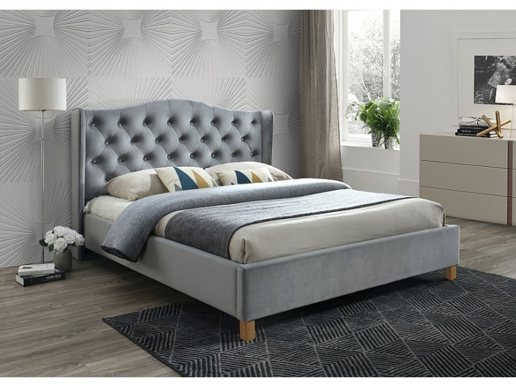 Aspen Velvet 160x200 francia ágy szürke bársony (Bluvel 14) (matrac nélkül)